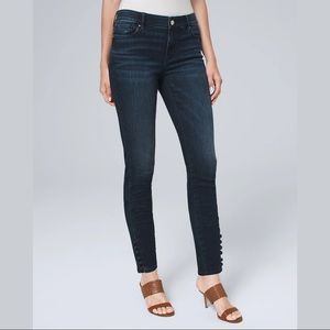 WHBM Classic Rise Button Detail Skinny Ankle Jean